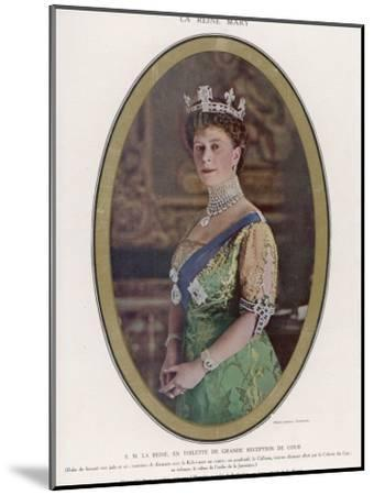 Mary, Queen of George V, Wearing a Crown with the Koh-I-Noor Diamond Set in the Centre--Mounted Photographic Print