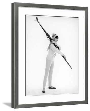 Model with Skis--Framed Photographic Print