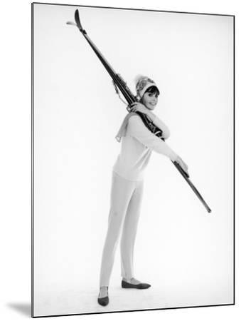 Model with Skis--Mounted Photographic Print