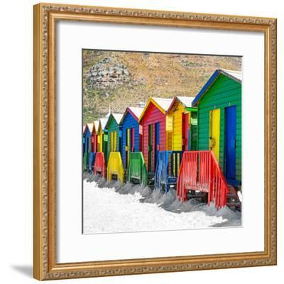 Awesome South Africa Collection Square - Colorful Beach Huts on Muizenberg - Cape Town II-Philippe Hugonnard-Framed Photographic Print