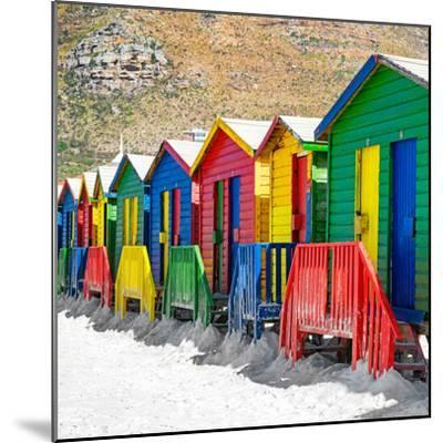 Awesome South Africa Collection Square - Colorful Beach Huts on Muizenberg - Cape Town II-Philippe Hugonnard-Mounted Photographic Print