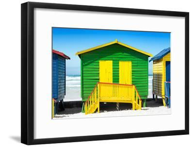 Awesome South Africa Collection - Colorful Beach Huts - Green & Yellow-Philippe Hugonnard-Framed Photographic Print