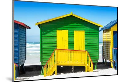 Awesome South Africa Collection - Colorful Beach Huts - Green & Yellow-Philippe Hugonnard-Mounted Photographic Print