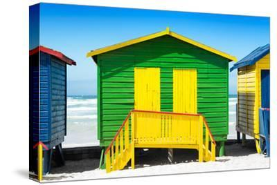 Awesome South Africa Collection - Colorful Beach Huts - Green & Yellow-Philippe Hugonnard-Stretched Canvas Print