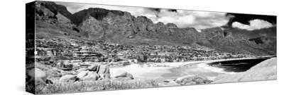 Awesome South Africa Collection Panoramic - Camps Bay Cape Town B&W-Philippe Hugonnard-Stretched Canvas Print