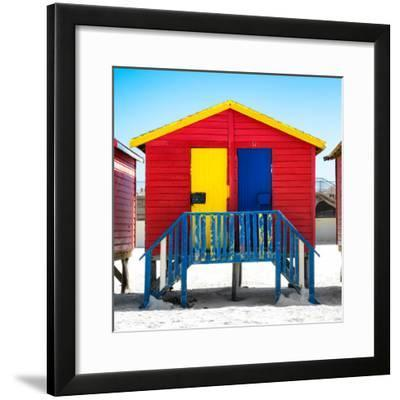 """Awesome South Africa Collection Square - Colorful Beach Huts """"Seven"""" Red-Philippe Hugonnard-Framed Photographic Print"""