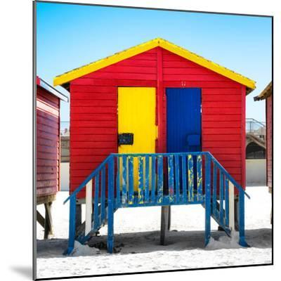 """Awesome South Africa Collection Square - Colorful Beach Huts """"Seven"""" Red-Philippe Hugonnard-Mounted Photographic Print"""