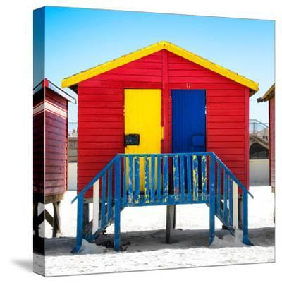 """Awesome South Africa Collection Square - Colorful Beach Huts """"Seven"""" Red-Philippe Hugonnard-Stretched Canvas Print"""
