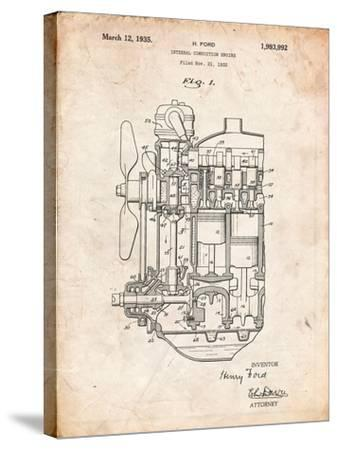 Ford Internal Combustion Engine Patent-Cole Borders-Stretched Canvas Print
