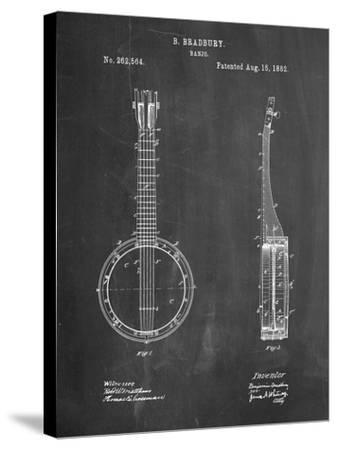 Banjo Mandolin Patent-Cole Borders-Stretched Canvas Print