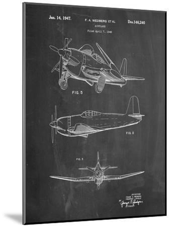 Contra Propeller Low Wing Airplane Patent-Cole Borders-Mounted Art Print