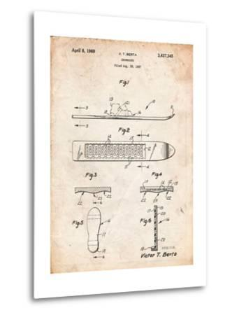 Berta Magnetic Boot Snowboard Patent-Cole Borders-Metal Print