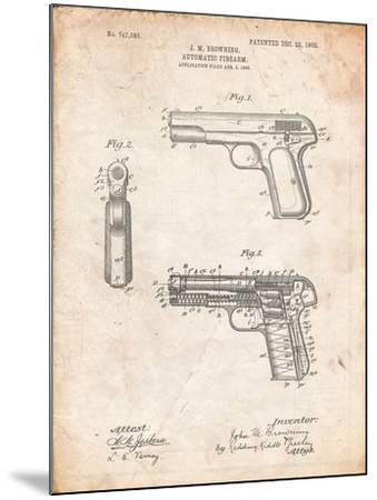 Browning No. 2 Handgun Patent-Cole Borders-Mounted Art Print