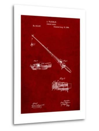 Fishing Rod and Reel 1884 Patent-Cole Borders-Metal Print