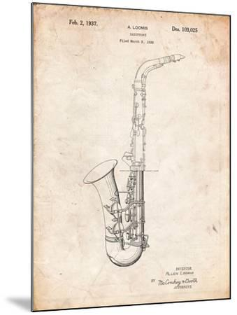 Conn a Melody Saxophone Patent-Cole Borders-Mounted Art Print