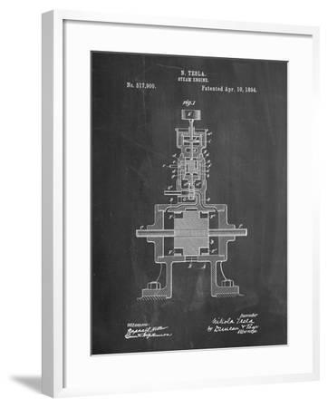 Tesla Steam Engine Patent-Cole Borders-Framed Art Print
