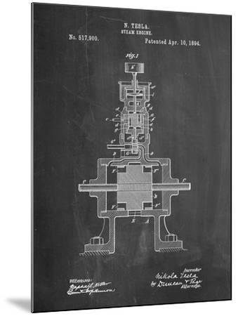 Tesla Steam Engine Patent-Cole Borders-Mounted Art Print