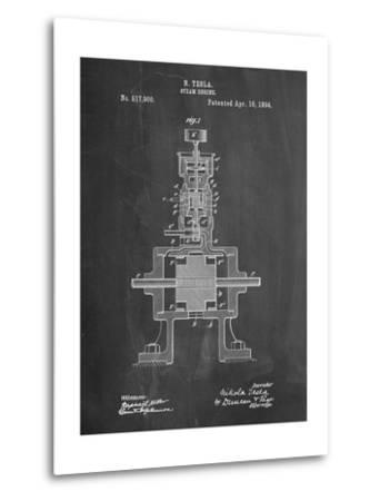 Tesla Steam Engine Patent-Cole Borders-Metal Print