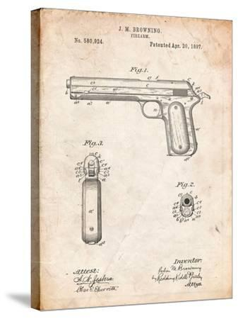 Colt Automatic Pistol of 1900 Patent-Cole Borders-Stretched Canvas Print