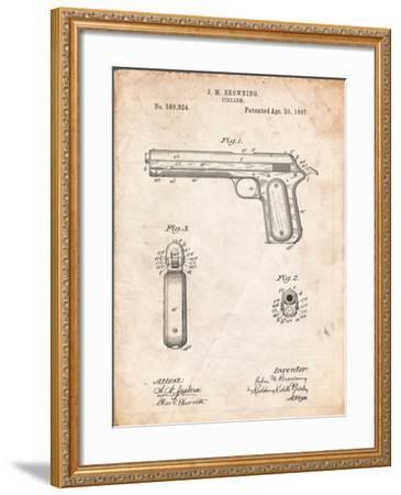 Colt Automatic Pistol of 1900 Patent-Cole Borders-Framed Art Print