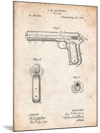 Colt Automatic Pistol of 1900 Patent-Cole Borders-Mounted Art Print