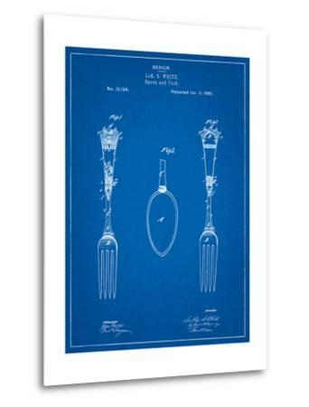 Antique Spoon and Fork Patent-Cole Borders-Metal Print