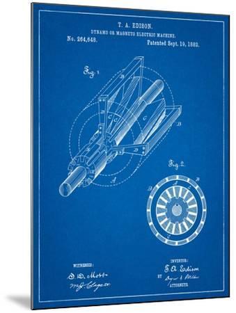 Edison Dynamo Electrical Generator Patent Print-Cole Borders-Mounted Art Print