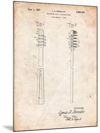 Toothbrush Flexible Head Patent-Cole Borders-Mounted Art Print