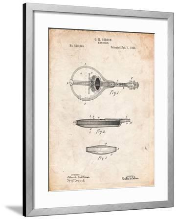 Gibson Mandolin a - Model Patent-Cole Borders-Framed Art Print