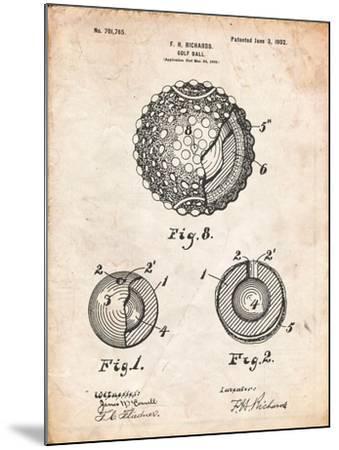 Golf Ball 1902 Patent-Cole Borders-Mounted Art Print