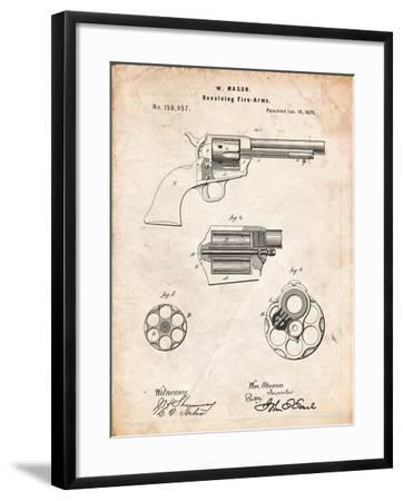 US Firearms Single Action Army Revolver Patent-Cole Borders-Framed Art Print