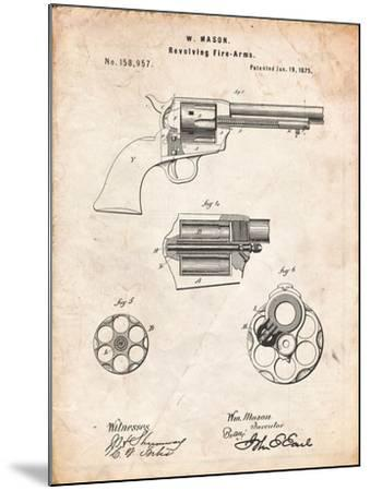US Firearms Single Action Army Revolver Patent-Cole Borders-Mounted Art Print