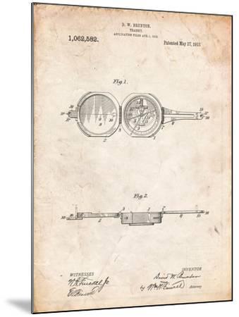 Pocket Transit Compass 1919 Patent-Cole Borders-Mounted Art Print