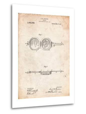Pocket Transit Compass 1919 Patent-Cole Borders-Metal Print