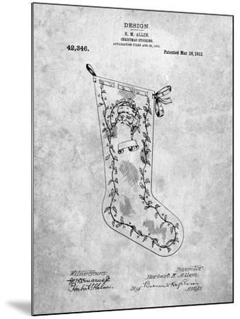 Christmas Stocking 1912 Patent-Cole Borders-Mounted Art Print