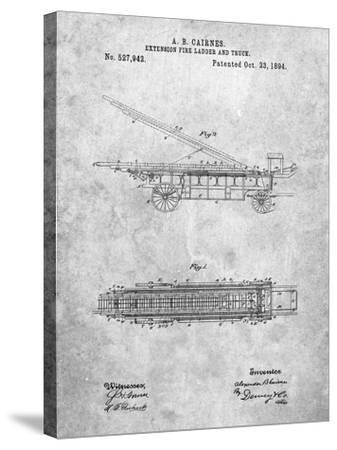 Fire Extension Ladder 1894 Patent-Cole Borders-Stretched Canvas Print
