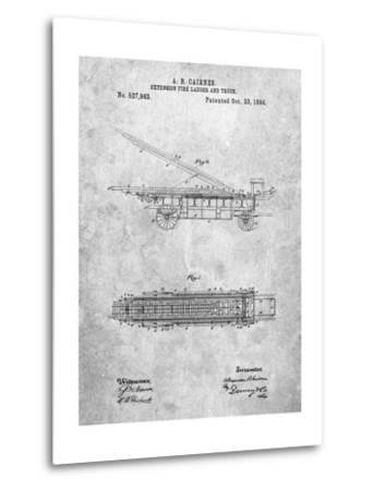 Fire Extension Ladder 1894 Patent-Cole Borders-Metal Print