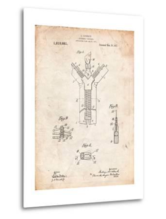 Zipper 1917 Patent-Cole Borders-Metal Print