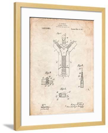 Zipper 1917 Patent-Cole Borders-Framed Art Print