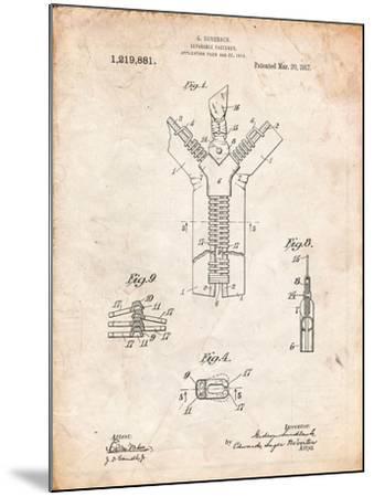 Zipper 1917 Patent-Cole Borders-Mounted Art Print