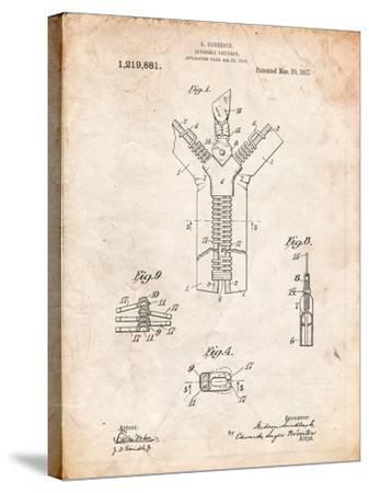 Zipper 1917 Patent-Cole Borders-Stretched Canvas Print