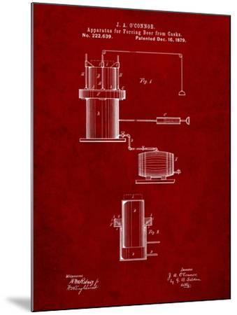 Antique Beer Cask Diagram Patent-Cole Borders-Mounted Art Print