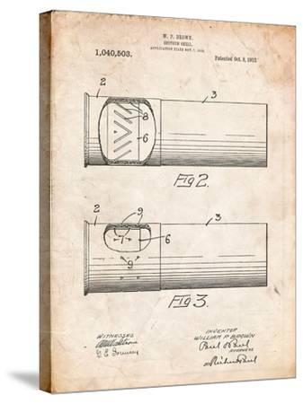 Shotgun Shell Patent Print-Cole Borders-Stretched Canvas Print