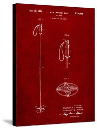 Ski Pole Patent-Cole Borders-Stretched Canvas Print