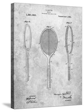 Vintage Tennis Racket Patent-Cole Borders-Stretched Canvas Print