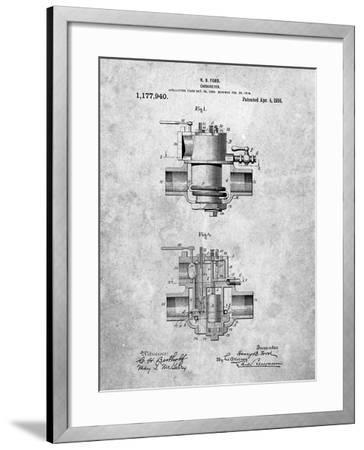 Ford Carburetor 1916 Patent-Cole Borders-Framed Art Print
