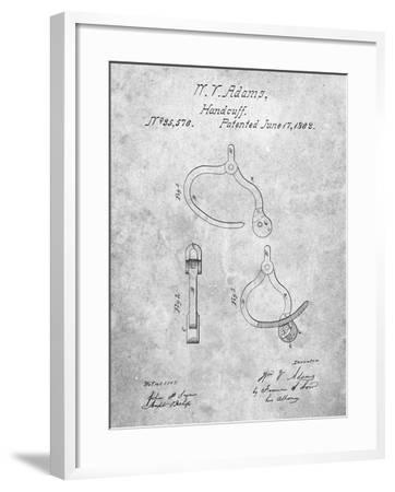 Vintage Police Handcuffs Patent-Cole Borders-Framed Art Print