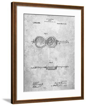 Pocket Transit Compass 1919 Patent-Cole Borders-Framed Art Print
