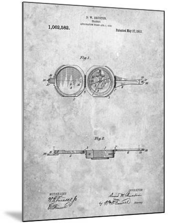 Pocket Transit Compass 1919 Patent-Cole Borders-Mounted Art Print