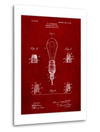 Large Filament Light Bulb Patent-Cole Borders-Metal Print